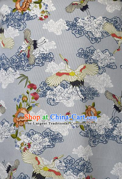 Chinese Traditional Cloud Crane Pattern Design Cheongsam Grey Satin Brocade Fabric Asian Silk Material