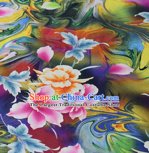 Chinese Traditional Flowers Pattern Design Cheongsam Deep Blue Satin Brocade Fabric Asian Silk Material