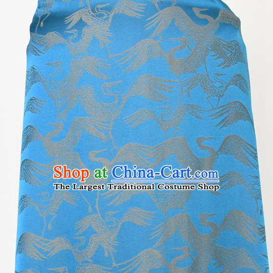 Chinese Traditional Cranes Pattern Design Cheongsam Blue Satin Brocade Fabric Asian Silk Material