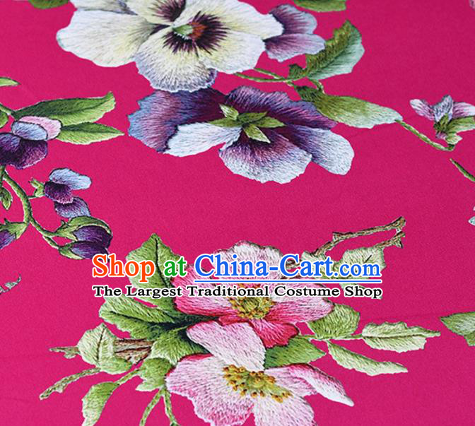 Chinese Traditional Peach Flowers Pattern Design Cheongsam Rosy Satin Brocade Fabric Asian Silk Material
