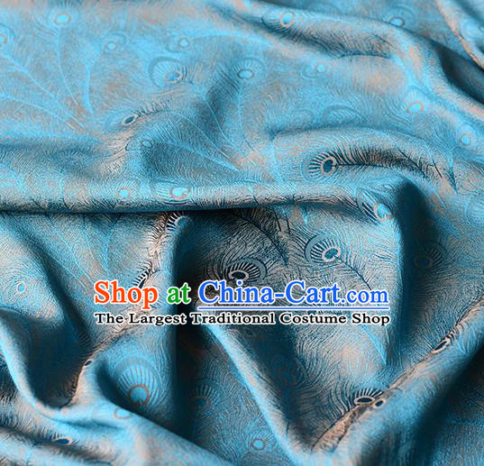 Chinese Traditional Feather Pattern Design Cheongsam Blue Satin Brocade Fabric Asian Silk Material