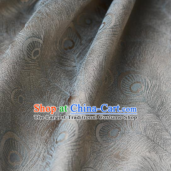Chinese Traditional Feather Pattern Design Cheongsam Grey Satin Brocade Fabric Asian Silk Material