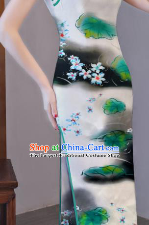 Chinese Traditional Lotus Leaf Pattern Design Cheongsam White Satin Brocade Fabric Asian Silk Material