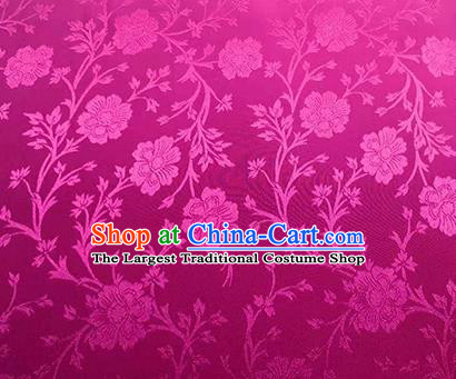 Chinese Traditional Flowers Pattern Design Rosy Satin Brocade Fabric Asian Silk Material