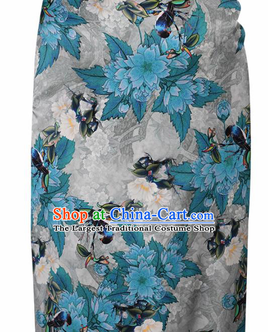 Chinese Traditional Blue Peach Blossom Pattern Design Satin Brocade Fabric Asian Silk Material