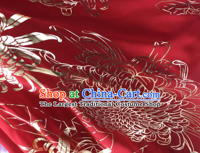 Chinese Traditional Chrysanthemum Pattern Design Red Chiffon Hanfu Brocade Fabric Asian Silk Material