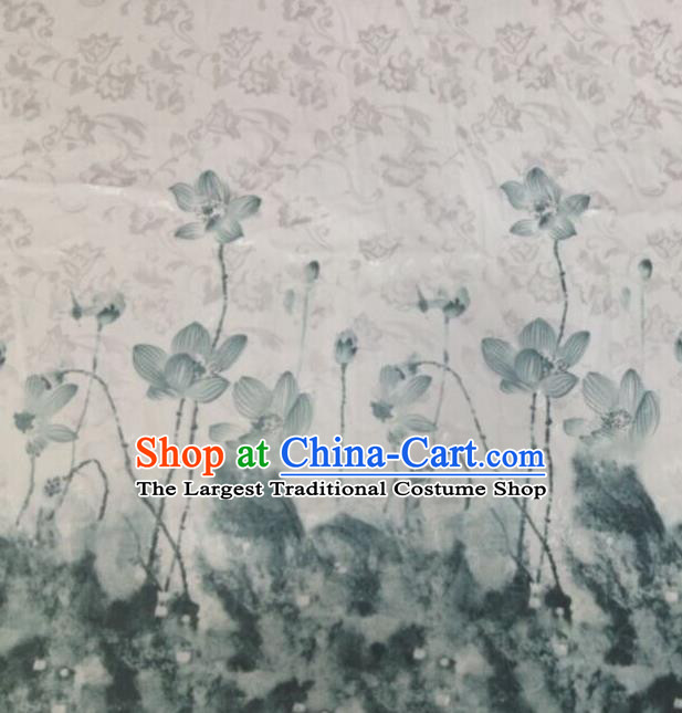 Chinese Traditional Ink Painting Lotus Pattern Design Satin Hanfu Brocade Fabric Asian Silk Material