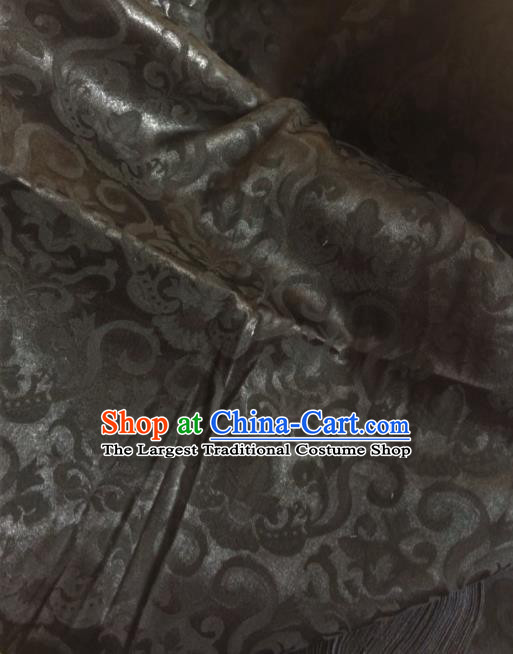 Chinese Traditional Scroll Pattern Design Black Satin Hanfu Brocade Fabric Asian Silk Material