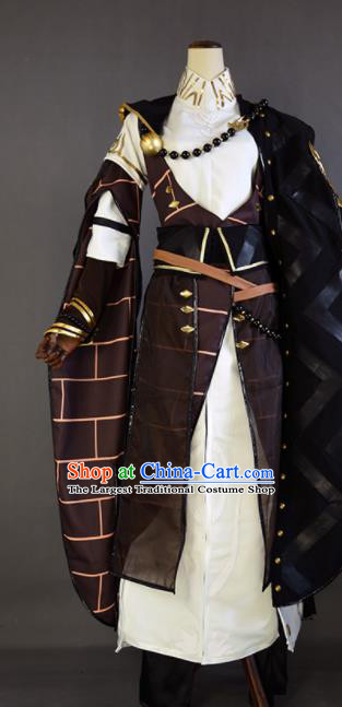 Chinese Ancient Cosplay Monk Knight Brown Clothing Traditional Hanfu Swordsman Costume for Men