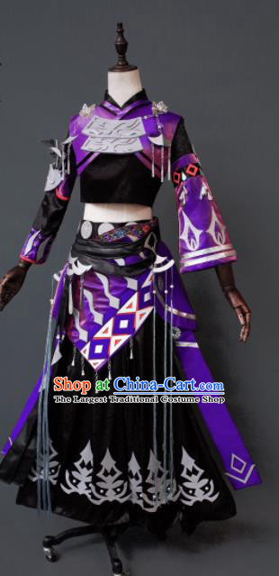 Chinese Ancient Cosplay Heroine Assassin Purple Dress Traditional Hanfu Female Swordsman Costume for Women