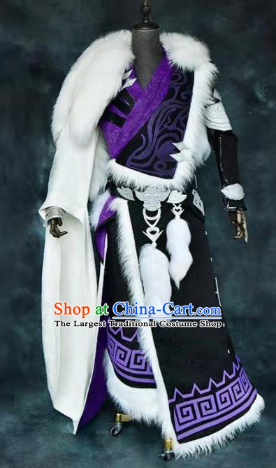 Chinese Ancient Drama Cosplay Taoist Priest King Black Clothing Traditional Hanfu Swordsman Costume for Men