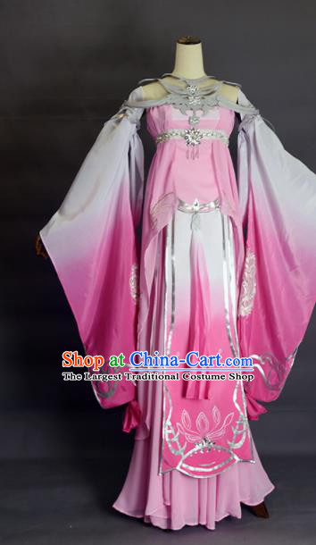 Chinese Ancient Cosplay Peri Pink Dress Traditional Hanfu Female Swordsman Costume for Women