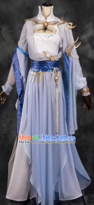 Chinese Ancient Cosplay Heroine Female Knight Gradient Blue Dress Traditional Hanfu Swordsman Costume for Women