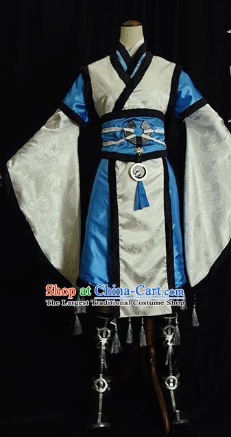 Chinese Ancient Cosplay Kawaler Knight White Clothing Traditional Hanfu Swordsman Costume for Men