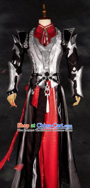 Chinese Ancient Drama Cosplay General Red Armor Clothing Traditional Hanfu Swordsman Costume for Men