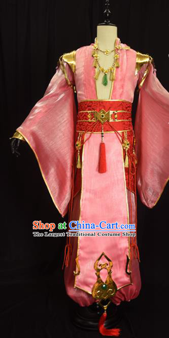 Chinese Ancient Cosplay Royal Highness Knight Pink Clothing Traditional Hanfu Swordsman Costume for Men