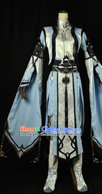 Chinese Ancient Cosplay Royal Highness Knight Blue Clothing Traditional Hanfu Swordsman Costume for Men