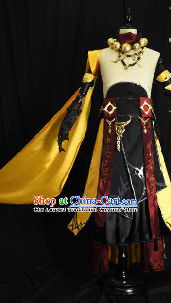 Chinese Ancient Cosplay Beggar Knight Golden Clothing Traditional Hanfu Swordsman Costume for Men