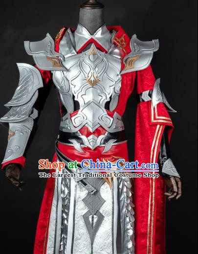 Chinese Ancient Drama Cosplay General Armor Knight Red Clothing Traditional Hanfu Swordsman Costume for Men
