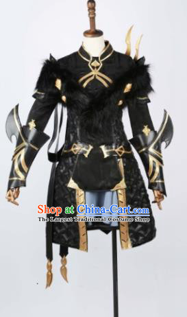 Chinese Ancient Cosplay Female General Armor Heroine Black Dress Traditional Hanfu Swordsman Costume for Women