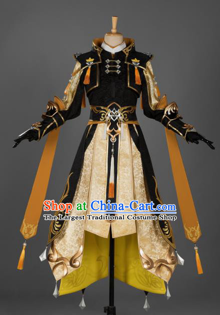 Chinese Ancient Drama Cosplay Young General Knight Black Clothing Traditional Hanfu Swordsman Costume for Men