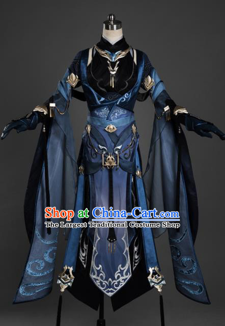 Chinese Ancient Cosplay Female General Heroine Navy Dress Traditional Hanfu Princess Swordsman Costume for Women
