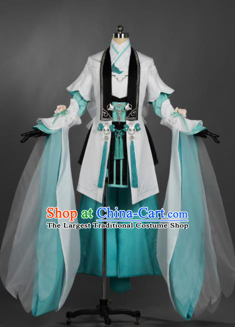 Chinese Ancient Cosplay Female General Heroine Green Dress Traditional Hanfu Princess Swordsman Costume for Women