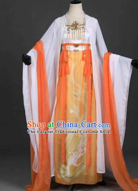 Chinese Ancient Cosplay Female General Heroine Orange Dress Traditional Hanfu Princess Swordsman Costume for Women