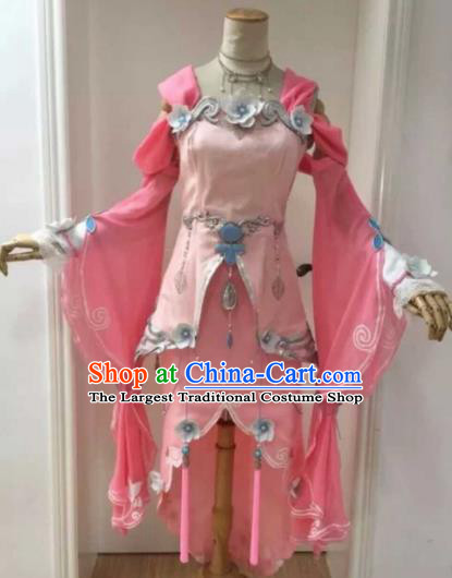 Chinese Ancient Cosplay Female Knight Heroine Pink Dress Traditional Hanfu Princess Swordsman Costume for Women