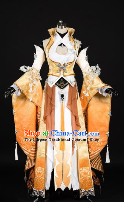 Chinese Ancient Cosplay Fairy Female Knight Heroine Yellow Dress Traditional Hanfu Princess Swordsman Costume for Women