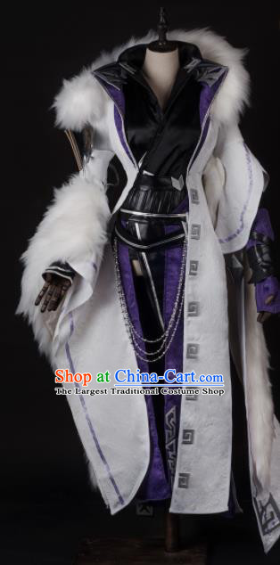 Chinese Ancient Drama Cosplay Knight King White Clothing Traditional Hanfu Swordsman Costume for Men
