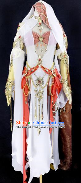 Chinese Ancient Cosplay Heroine White Dress Traditional Hanfu Female Swordsman Costume for Women