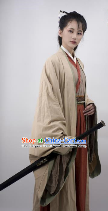 Chinese Traditional Jin Dynasty Female Swordsman Replica Costumes Ancient Court Princess Hanfu Dress for Women