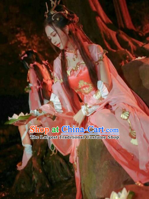 Chinese Ancient Cosplay Fairy Female Knight Pink Dress Traditional Hanfu Princess Swordsman Costume for Women