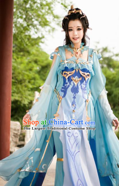 Chinese Ancient Cosplay Fairy Princess Blue Dress Traditional Hanfu Female Knight Swordsman Costume for Women