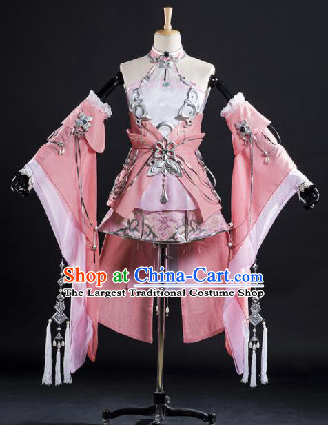 Chinese Ancient Cosplay Fairy Princess Pink Short Dress Traditional Hanfu Female Knight Swordsman Costume for Women