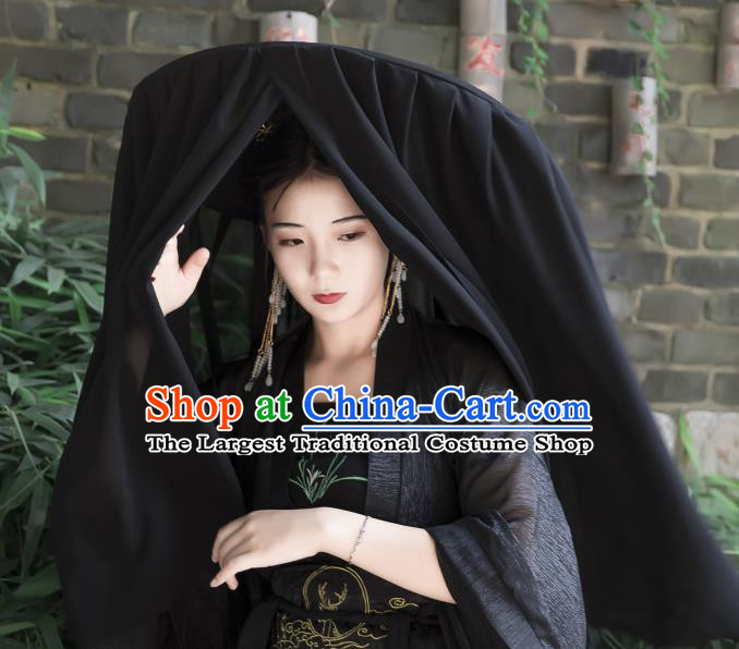 Chinese Ancient Cosplay Hanfu Bamboo Hat Traditional Handmade Swordsman Black Veil Hat for Women