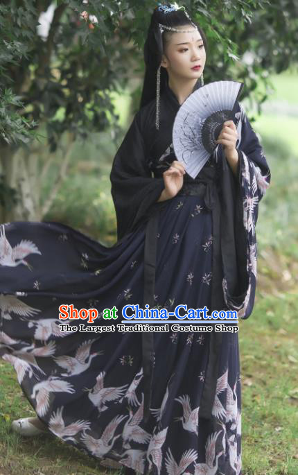 Chinese Ancient Cosplay Game Fairy Princess Black Dress Traditional Hanfu Swordsman Costume for Women