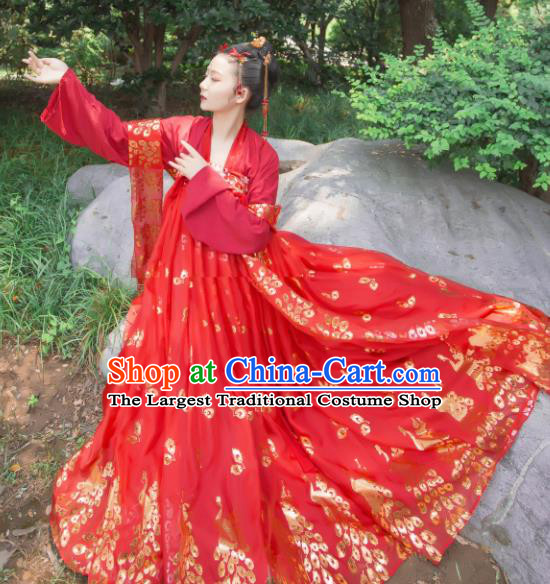 Chinese Ancient Cosplay Game Fairy Princess Wedding Red Dress Traditional Hanfu Imperial Consort Costume for Women