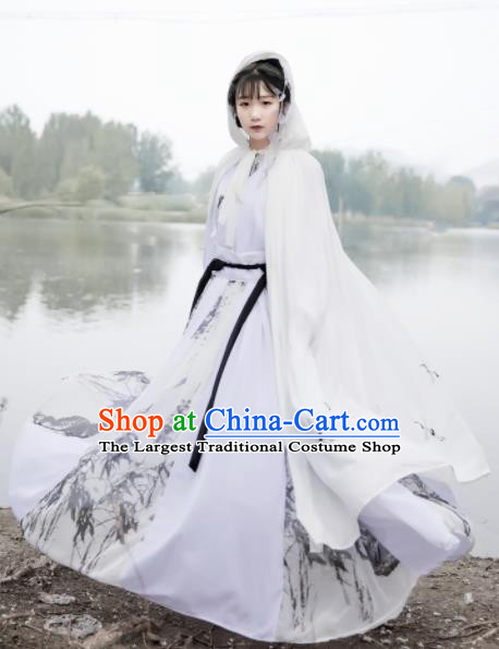 Chinese Ancient Cosplay Game Fairy Swordsman White Dress Traditional Hanfu Imperial Consort Costume for Women