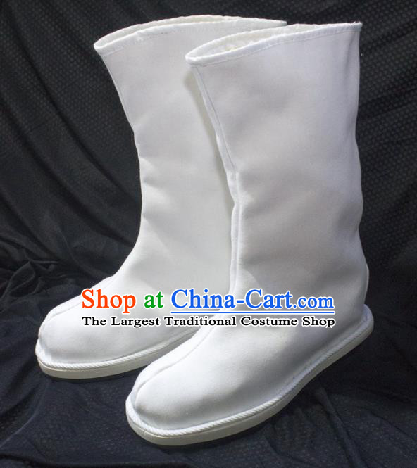 Asian Chinese Ancient Taoist Priest White Shoes Swordsman Boots Traditional Hanfu Shoes for Men
