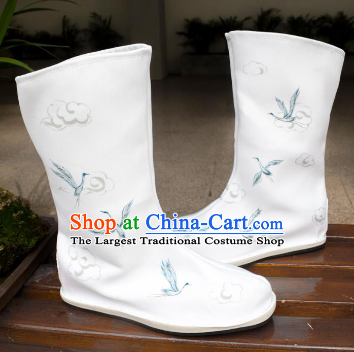 Asian Chinese Ancient Swordsman Printing Cranes White Boots Taoist Priest Shoes Traditional Hanfu Shoes for Men