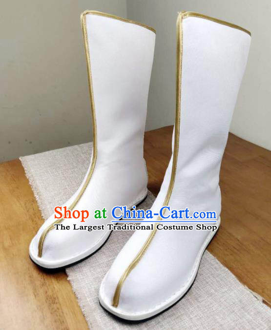 Asian Chinese Ancient Swordsman White Boots Taoist Priest Shoes Traditional Hanfu Shoes for Men