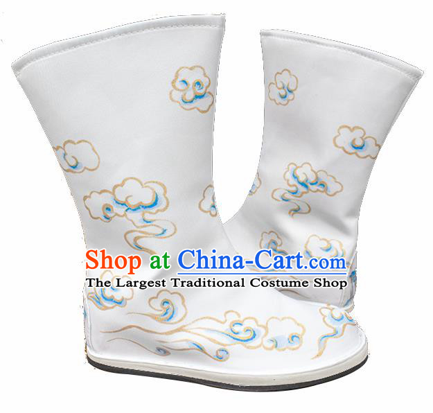 Asian Chinese Ancient Swordsman Printing Cloud White Boots Taoist Priest Shoes Traditional Hanfu Shoes for Men