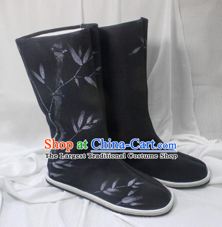 Asian Chinese Ancient Swordsman Printing Bamboo Black Boots Taoist Priest Shoes Traditional Hanfu Shoes for Men
