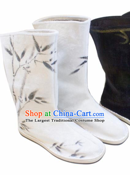Asian Chinese Ancient Swordsman Printing Bamboo White Boots Taoist Priest Shoes Traditional Hanfu Shoes for Men