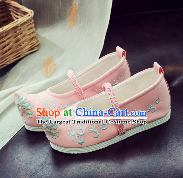 Asian Chinese Traditional Princess Hanfu Shoes National Pink Cloth Shoes Embroidered Shoes for Kids