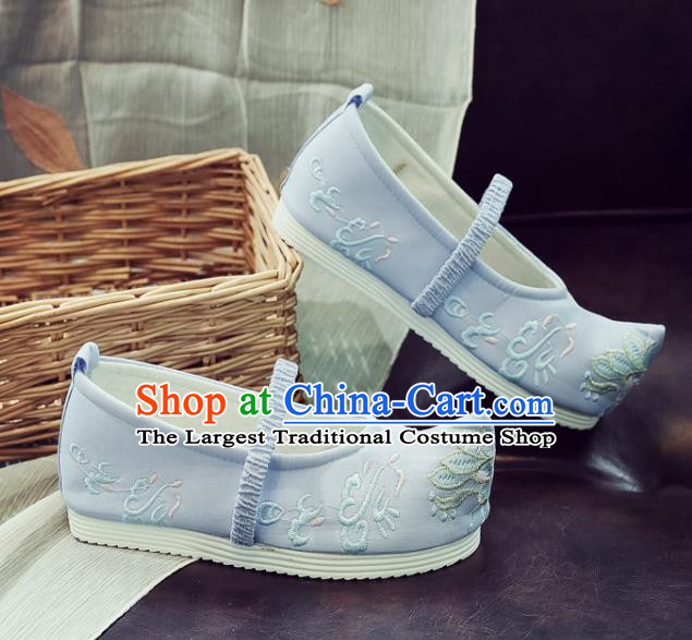 Asian Chinese Traditional Princess Hanfu Shoes National Blue Cloth Shoes Embroidered Shoes for Kids