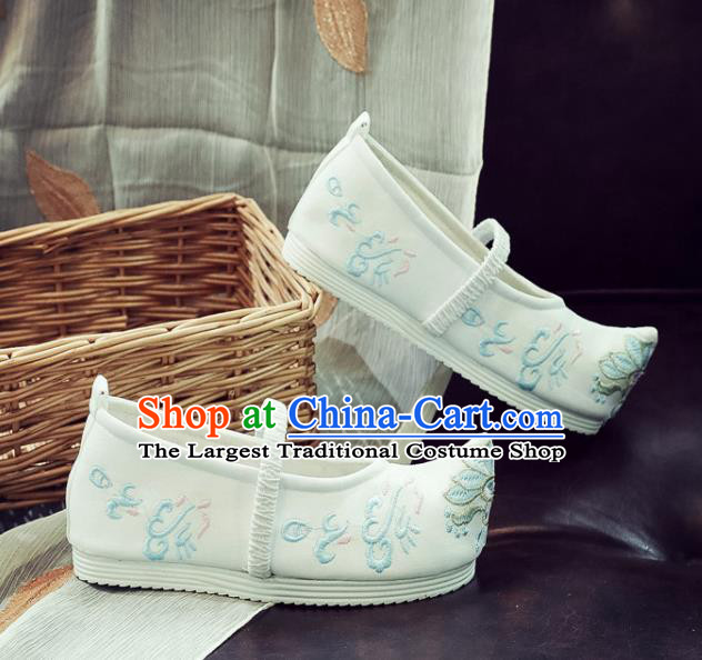 Asian Chinese Traditional Princess Hanfu Shoes National White Cloth Shoes Embroidered Shoes for Kids