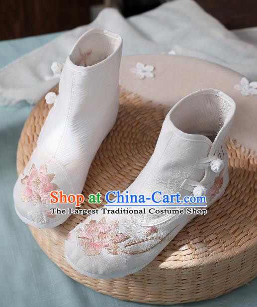 Asian Chinese Traditional Embroidered Lotus White Boots Hanfu Shoes National Cloth Shoes for Women